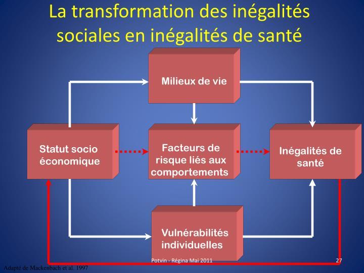 La transformation des inégalités  sociales en inégalités de santé