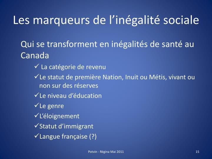 Les marqueurs de l'inégalité sociale