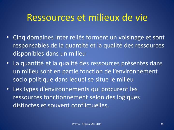 Ressources et milieux de vie