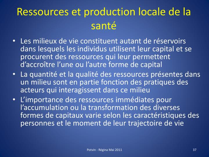 Ressources et production locale de la santé
