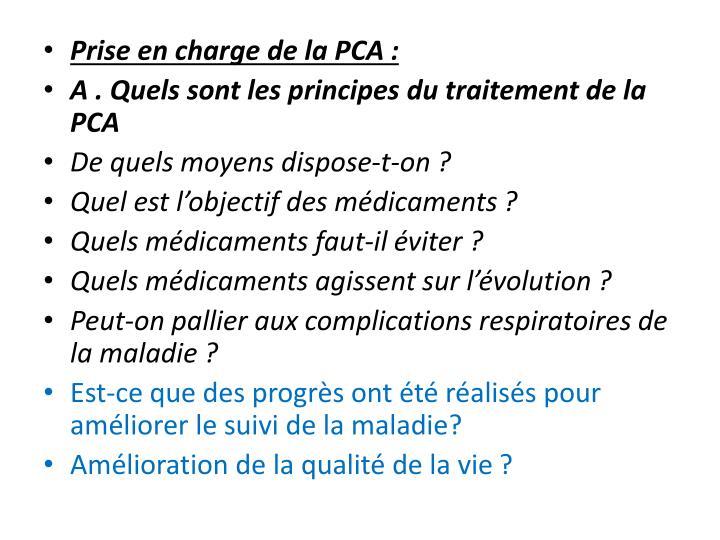 Prise en charge de la PCA: