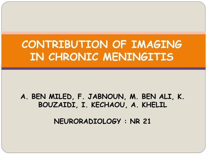 CONTRIBUTION OF IMAGING IN CHRONIC