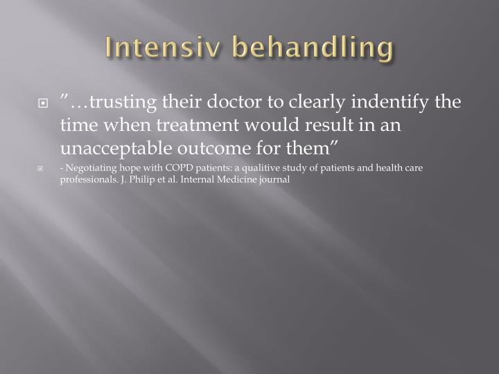 Intensiv behandling