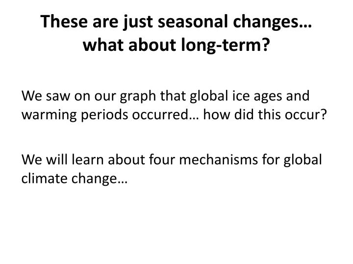 These are just seasonal changes… what about long-term?