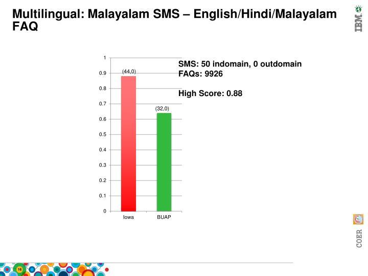 Multilingual: Malayalam SMS – English/Hindi/Malayalam FAQ