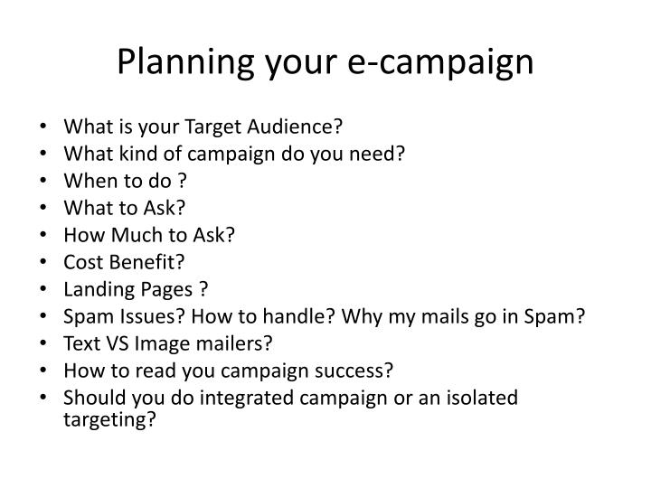 Planning your e campaign