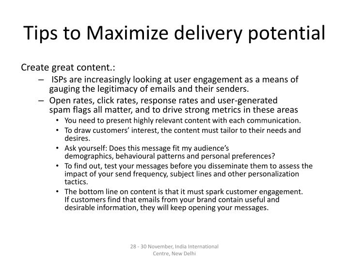 Tips to Maximize delivery potential