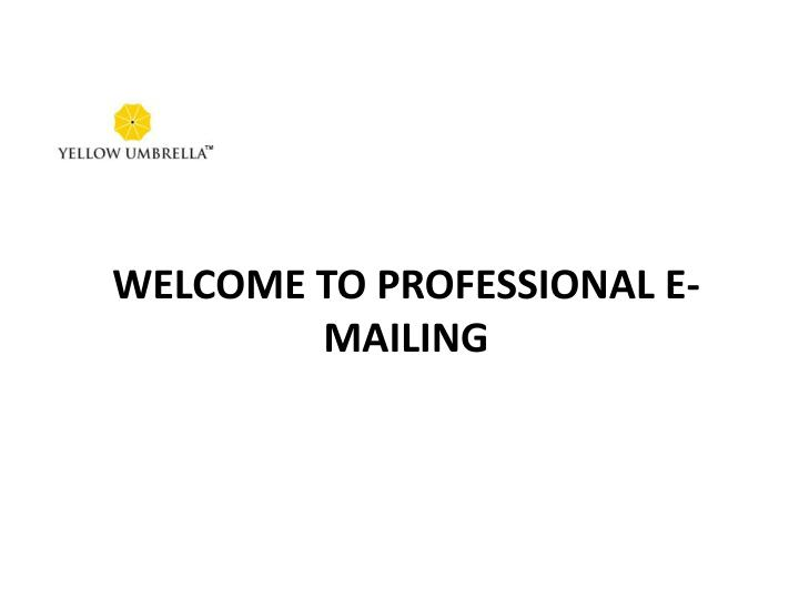 Welcome to Professional E-mailing