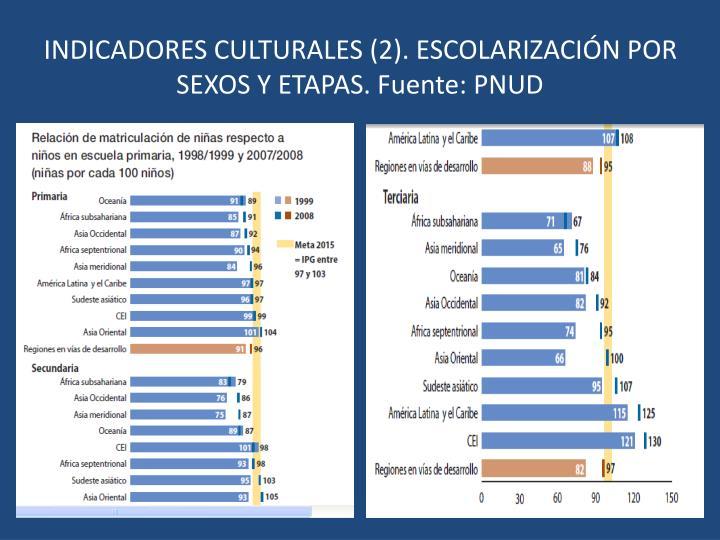 INDICADORES CULTURALES (2). ESCOLARIZACIÓN POR SEXOS Y ETAPAS. Fuente: PNUD
