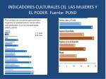 indicadores culturales 3 las mujeres y el poder fuente pund