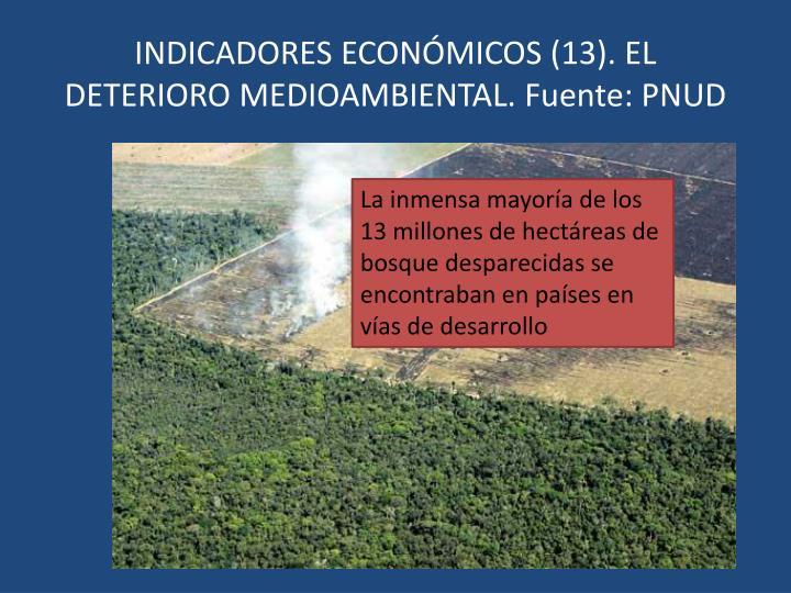 INDICADORES ECONÓMICOS (13). EL DETERIORO MEDIOAMBIENTAL. Fuente: PNUD