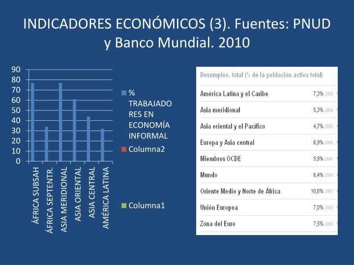 INDICADORES ECONÓMICOS (3). Fuentes: PNUD y Banco Mundial. 2010