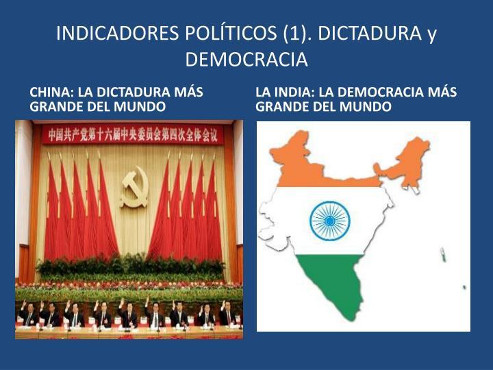 INDICADORES POLÍTICOS (1). DICTADURA y DEMOCRACIA