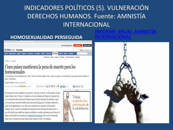 INDICADORES POLÍTICOS (5). VULNERACIÓN DERECHOS HUMANOS. Fuente: AMNISTÍA INTERNACIONAL