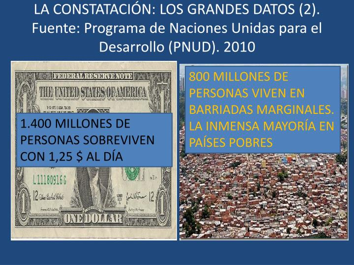 LA CONSTATACIÓN: LOS GRANDES DATOS (2). Fuente: Programa de Naciones Unidas para el Desarrollo (PNUD). 2010