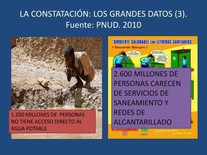 LA CONSTATACIÓN: LOS GRANDES DATOS (3). Fuente: PNUD. 2010
