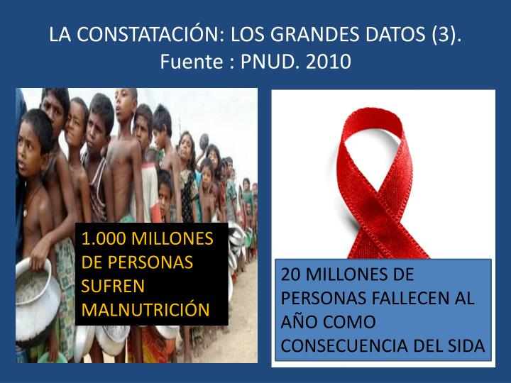 LA CONSTATACIÓN: LOS GRANDES DATOS (3). Fuente : PNUD. 2010