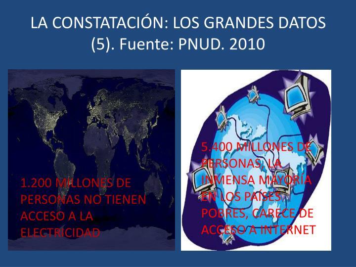 LA CONSTATACIÓN: LOS GRANDES DATOS (5). Fuente: PNUD. 2010