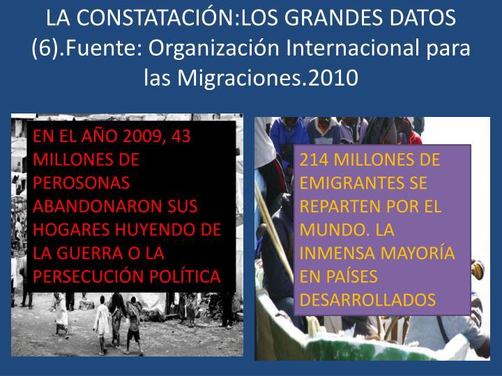 LA CONSTATACIÓN:LOS GRANDES DATOS (6).Fuente: Organización Internacional para las Migraciones.2010