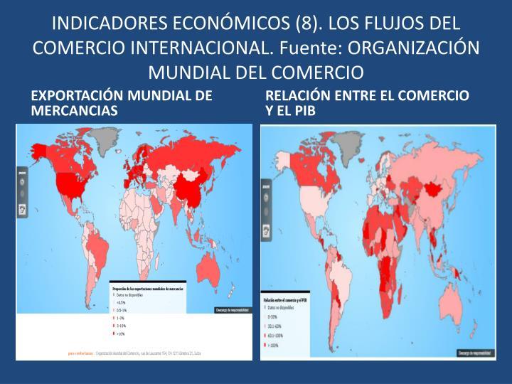 INDICADORES ECONÓMICOS (8). LOS FLUJOS DEL COMERCIO INTERNACIONAL. Fuente: ORGANIZACIÓN MUNDIAL DEL COMERCIO