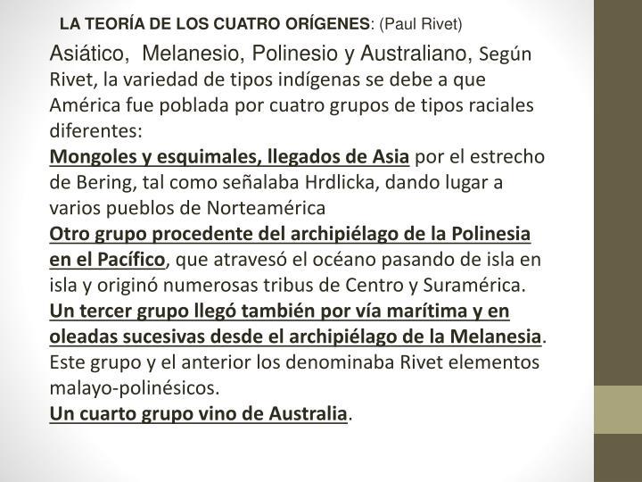 LA TEORÍA DE LOS CUATRO ORÍGENES