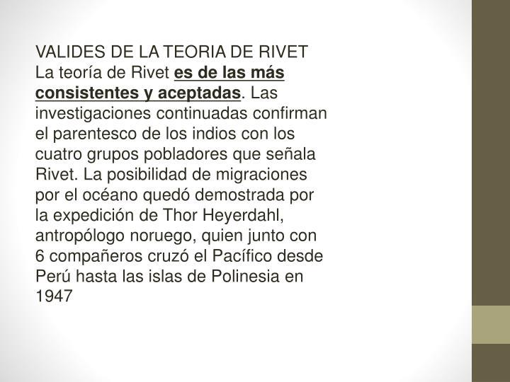 VALIDES DE LA TEORIA DE RIVET