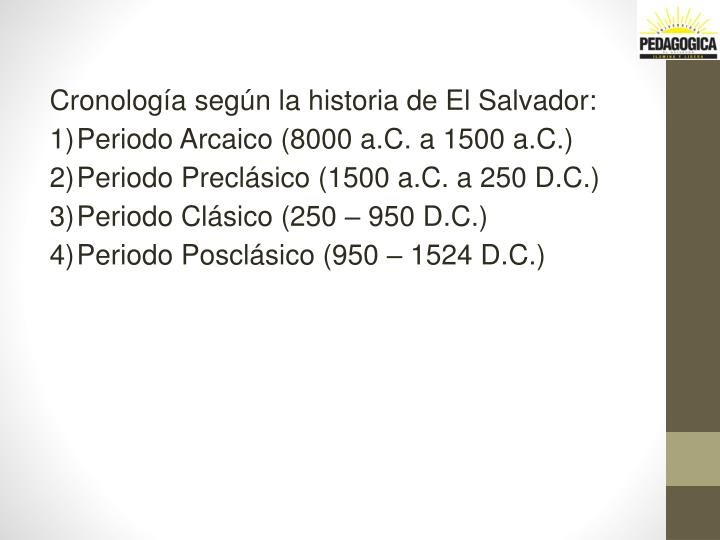 Cronología según la historia de El Salvador: