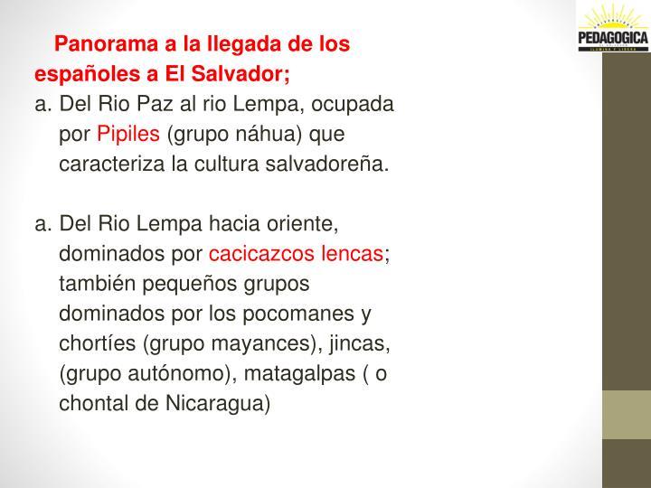 Panorama a la llegada de los españoles a El Salvador;