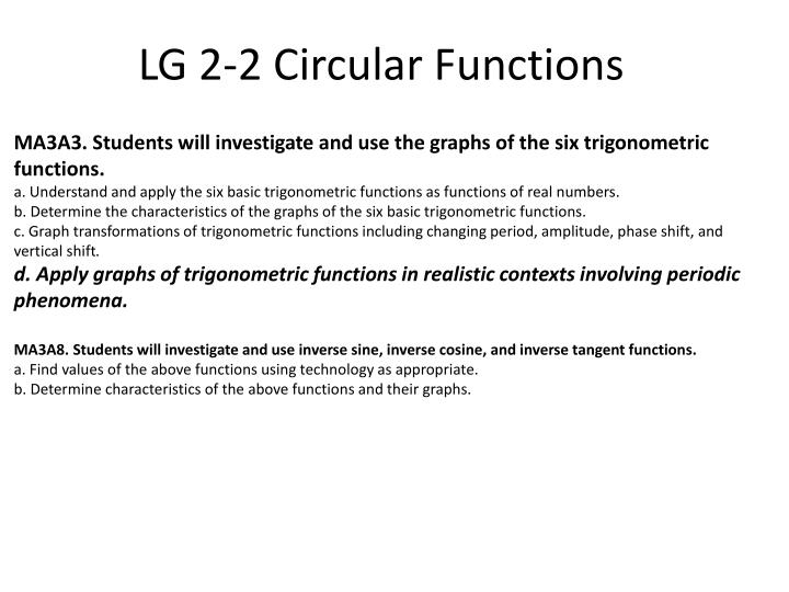 MA3A3. Students will investigate and use the graphs of the six trigonometric functions.
