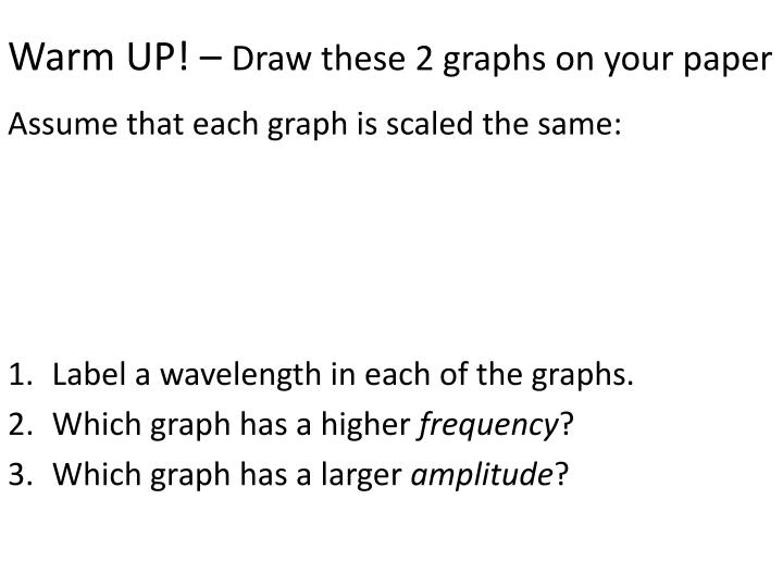 Warm up draw these 2 graphs on your paper