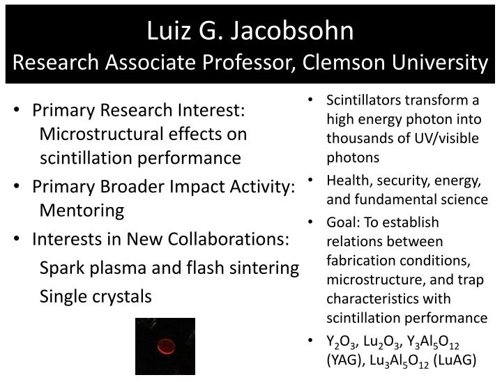 Luiz g jacobsohn research associate professor clemson university