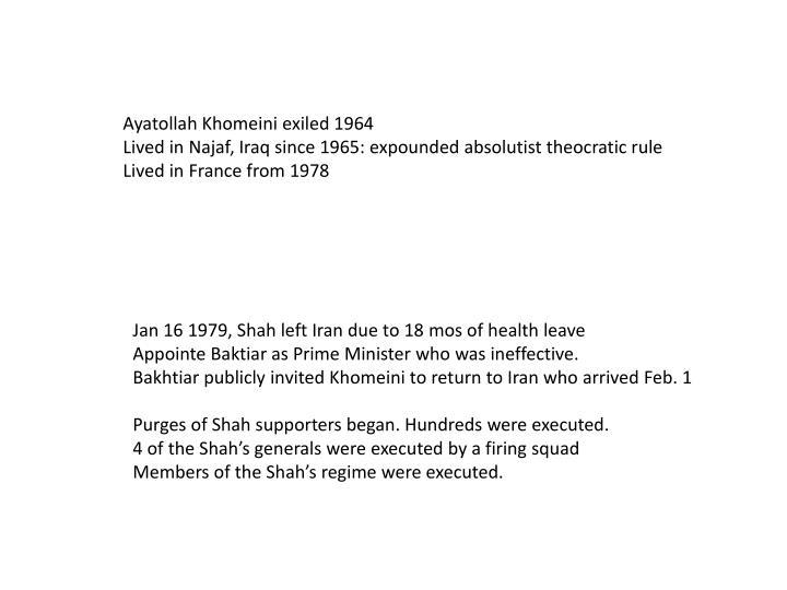 Ayatollah Khomeini exiled 1964