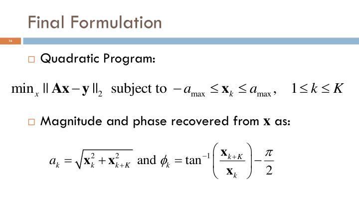 Final Formulation