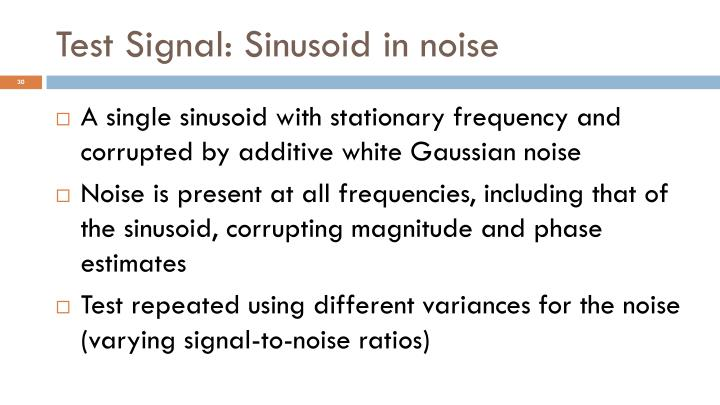 Test Signal: Sinusoid in noise