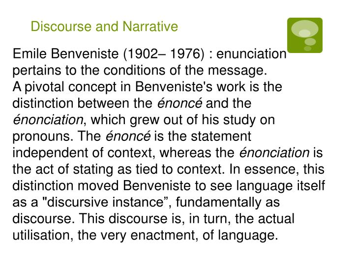 Discourse and Narrative