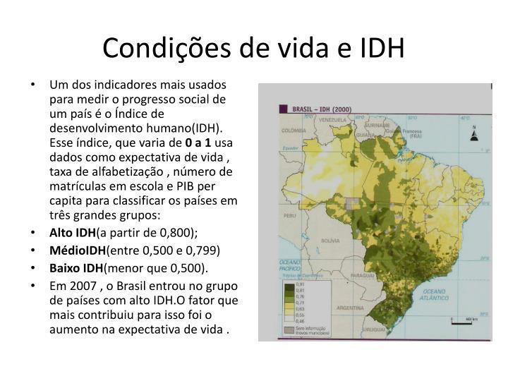 Condições de vida e IDH