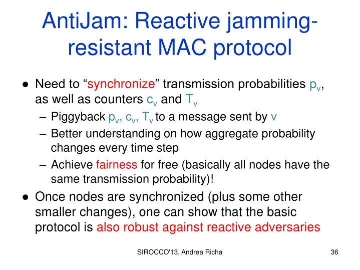 AntiJam: Reactive jamming-resistant MAC protocol