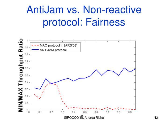 AntiJam vs. Non-reactive protocol: Fairness