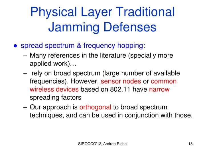 Physical Layer Traditional Jamming Defenses