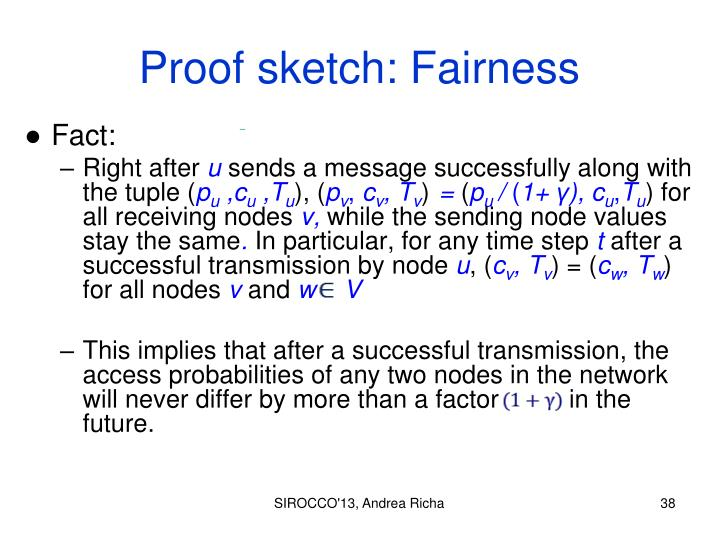Proof sketch: Fairness
