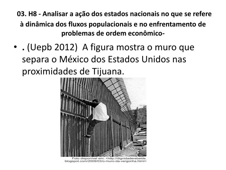 03. H8 - Analisar a ao dos estados nacionais no que se refere  dinmica dos fluxos populacionais e no enfrentamento de problemas de ordem econmico-