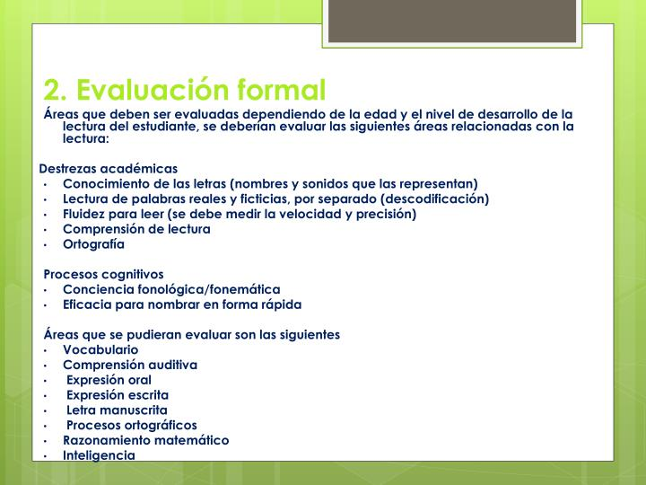 2. Evaluación formal