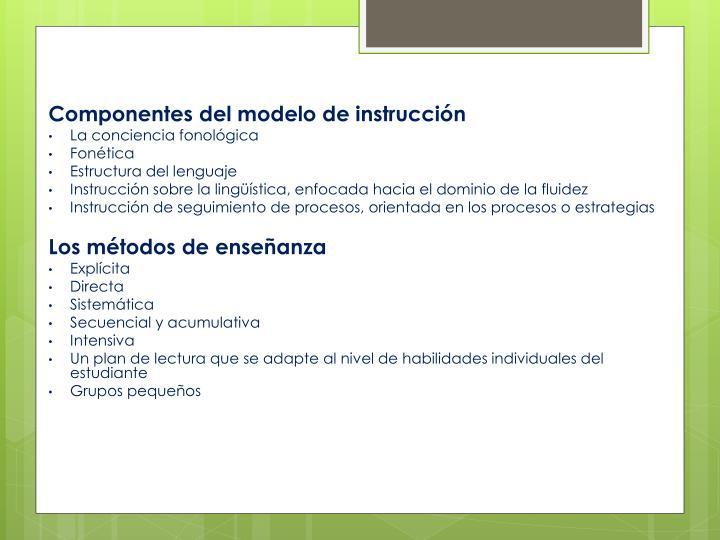Componentes del modelo de instrucción