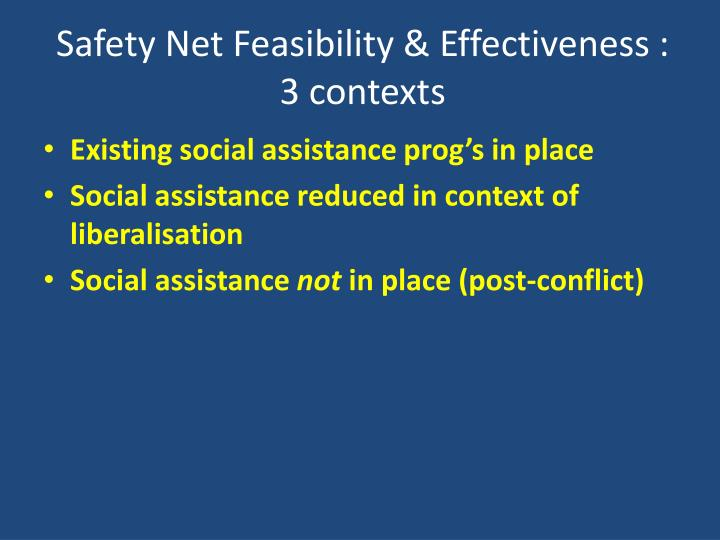 Safety Net Feasibility & Effectiveness :