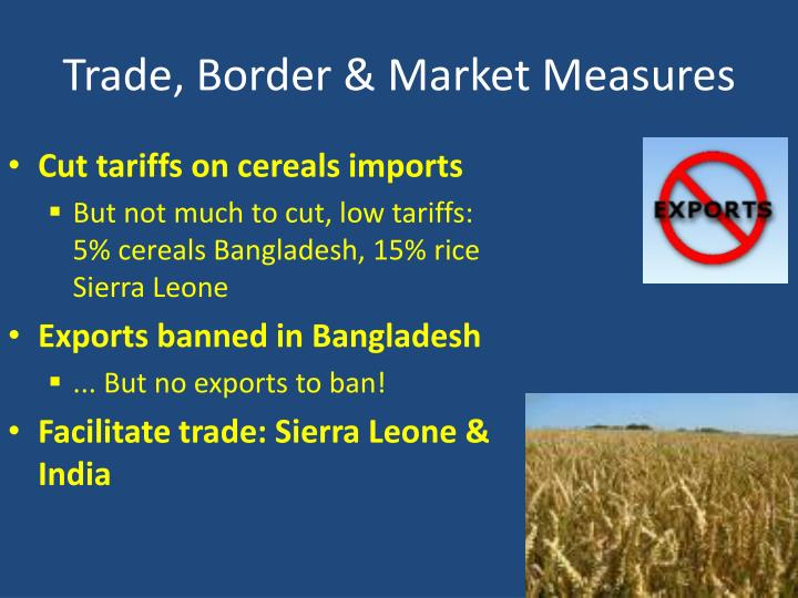 Trade, Border & Market Measures