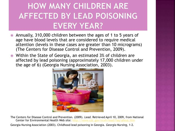 How many Children are affected by lead Poisoning every year?