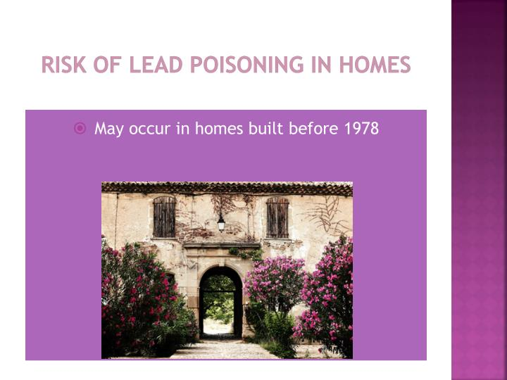 Risk of lead Poisoning in Homes