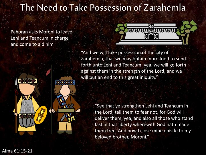 The Need to Take Possession of Zarahemla