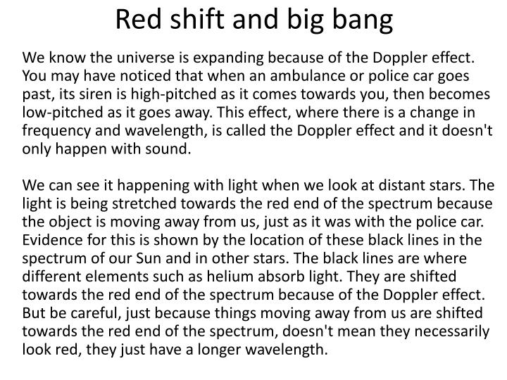 Red shift and big bang