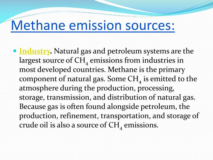 Methane emission sources:
